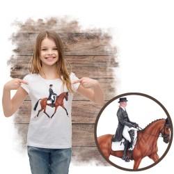 Koszulka dziewczęca z koniem dresaż