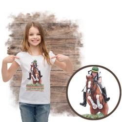 Koszulka dziewczęca z koniem cross