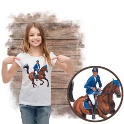 Koszulka dziewczęca z koniem galop