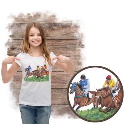 Koszulka dziewczęca z koniem gonitwa płoty