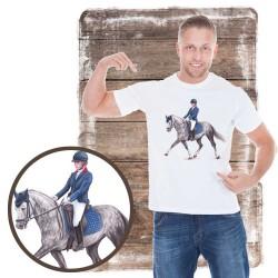Koszulka męska z koniem pony dresaż