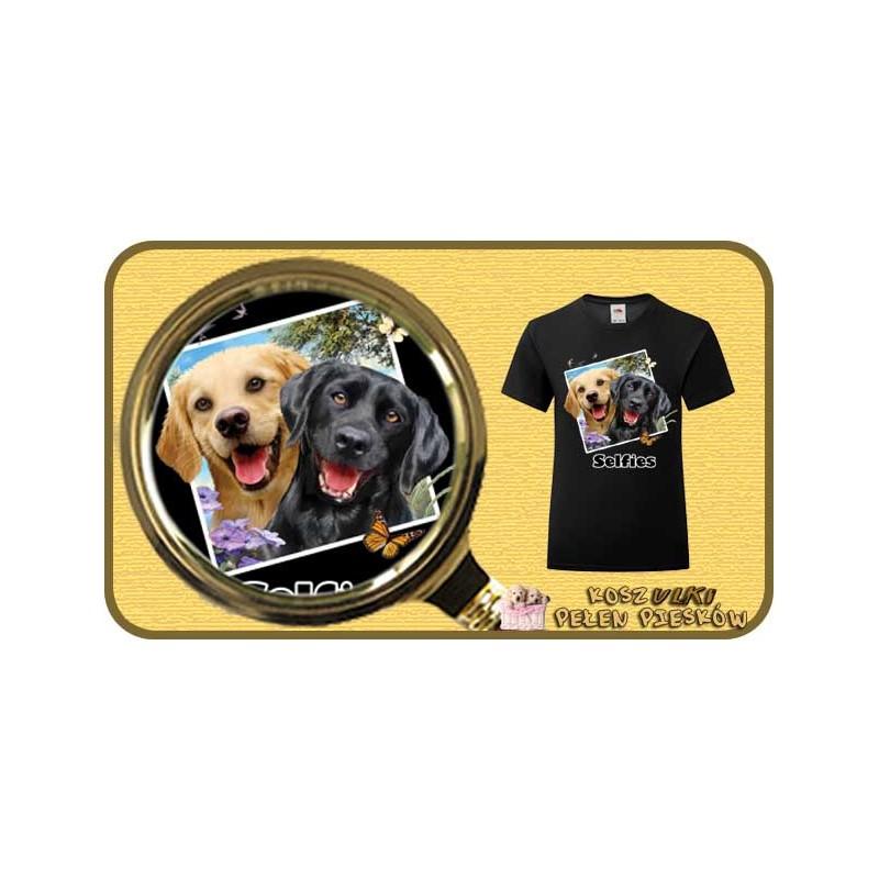 Koszulka dziewczęca z pieskiem  LAB DOGS SELFIE