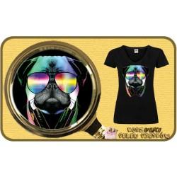 Koszulka damska z pieskiem DJ PUG